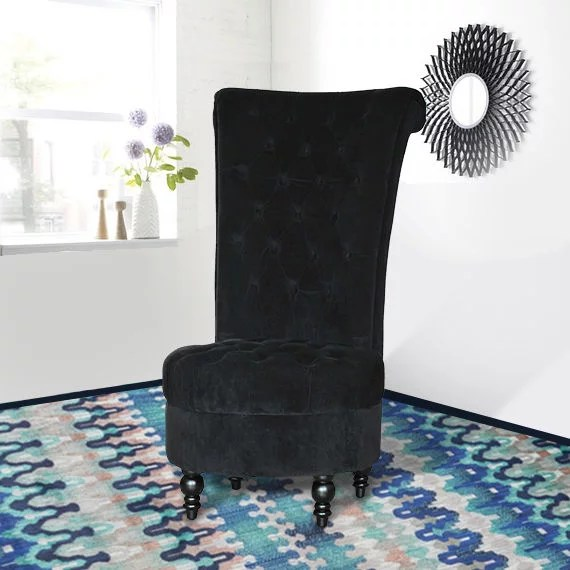 high back tufted chair table chairs outdoor homcom velvet accent walmart com