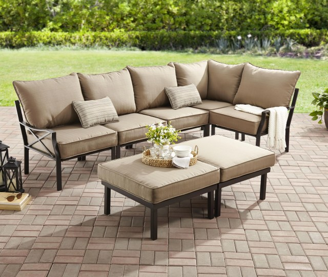 Mainstays Sandhill  Piece Outdoor Sofa Sectional Set Seats  Walmart Com