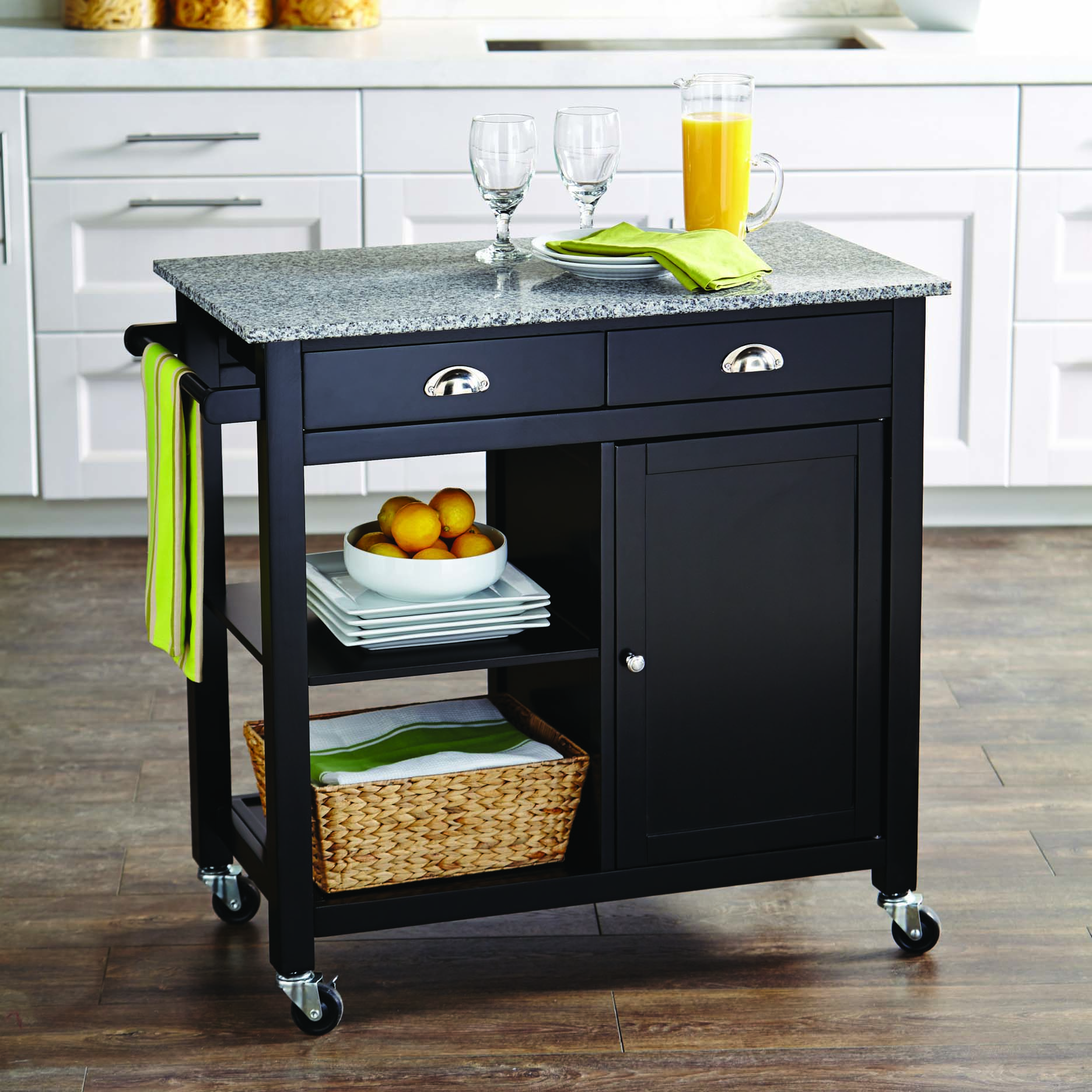 better homes gardens 35 tall rolling kitchen cart with granite top black