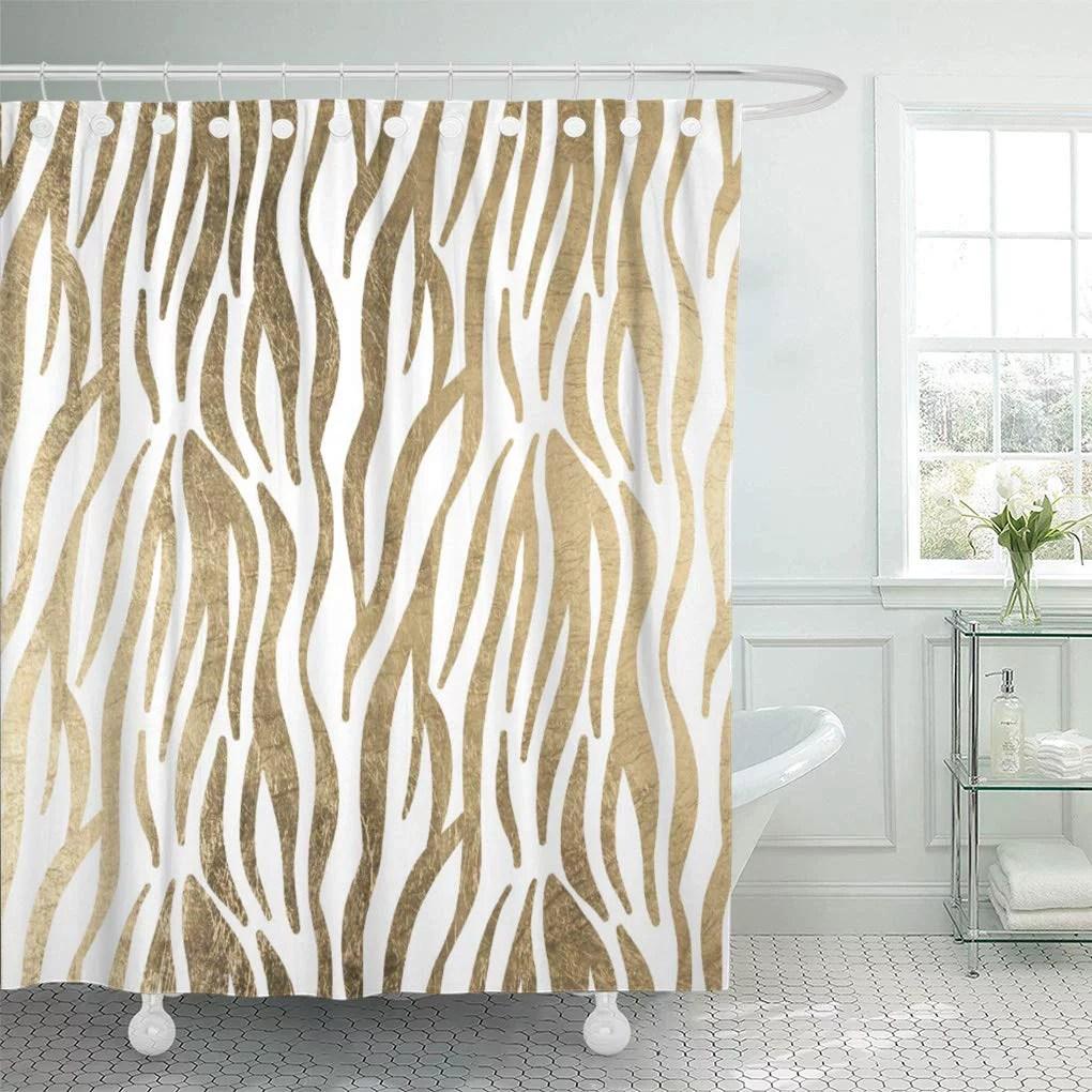 https www walmart com ip cynlon elegant chic black white gold zebra glam modern bathroom decor bath shower curtain 60x72 inch 852999064