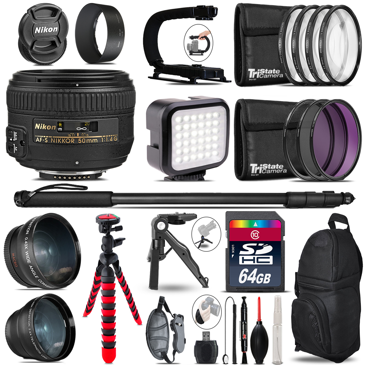 Nikon AF-S 50mm f/ 1.4G-Video Kit + LED KIt + Monopad – 64GB Accessory Bundle