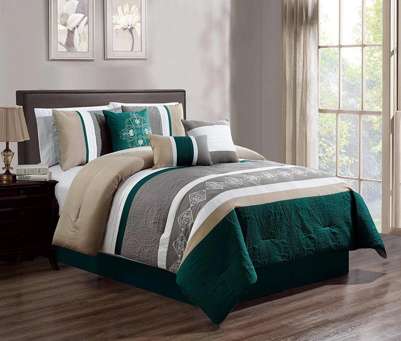 hgmart bedding comforter set bed in a bag 7 piece luxury embroidery microfiber bedding sets 100 polyester bedroom comforters teal king
