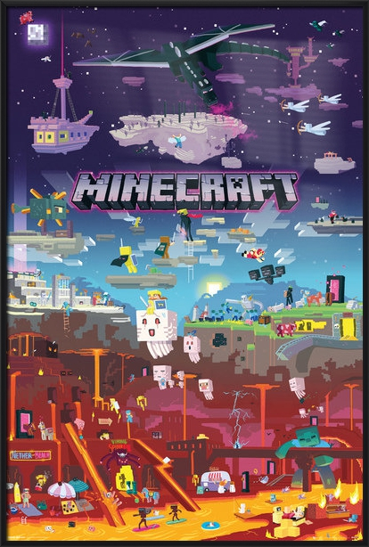 minecraft the world beyond framed gaming poster print city size 24 x 36