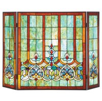 Stained Glass Hearts Decorative Three Panel Fireplace ...