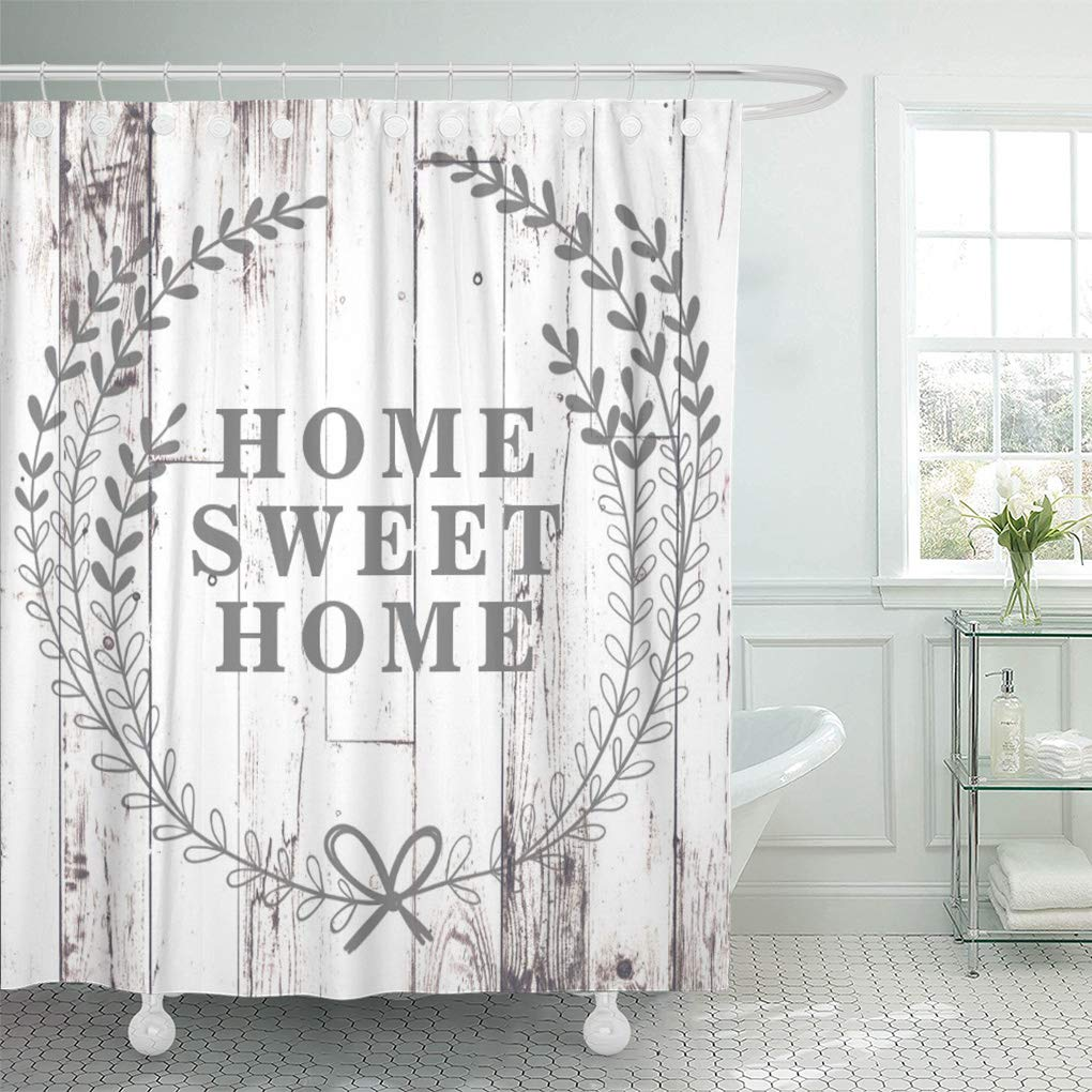 yusdecor modern white wood rustic farmhouse home sweet farm shabby bathroom decor bath shower curtain 66x72 inch