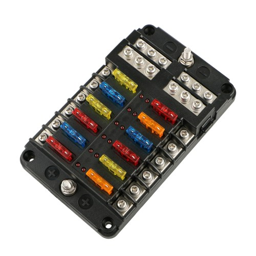 small resolution of universal auto car 12 way blade fuse standard circuit holder box block dc 12 32v negative bus automotive walmart com