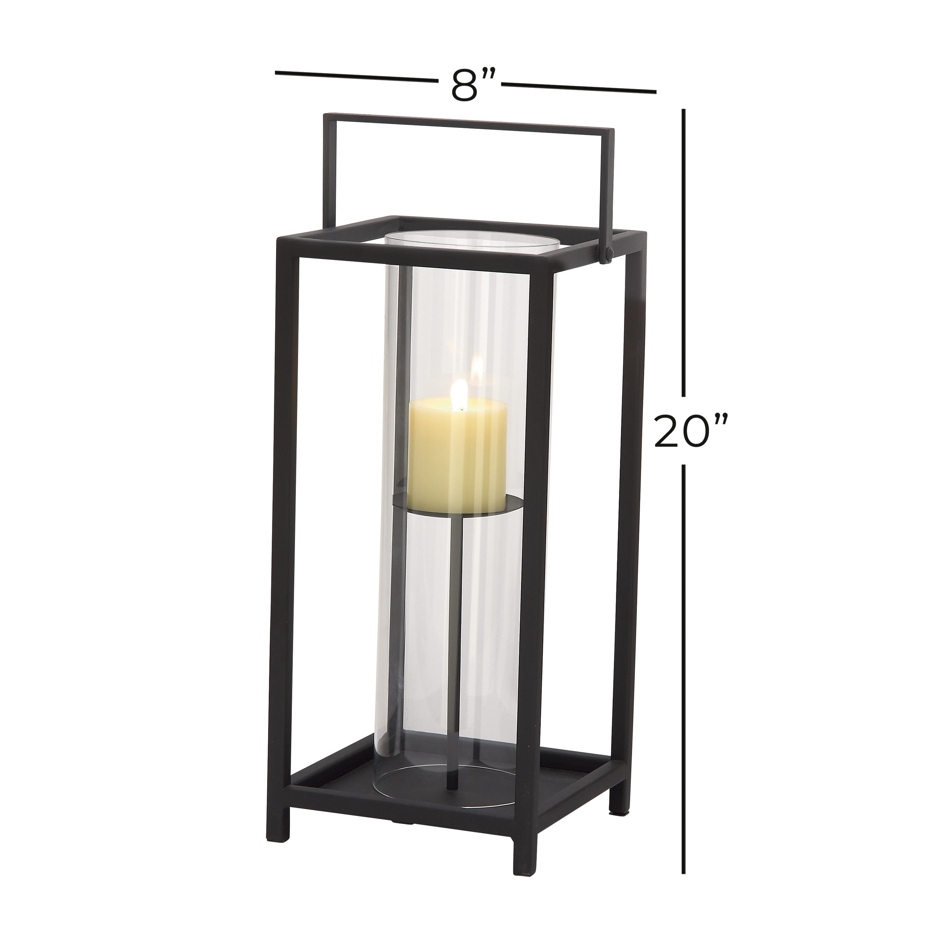 Decmode 44539 Large Rectangle Contemporary Iron And Glass Candle Holder In Black Finish W Metal Handle 8 X20 Walmart Com Walmart Com