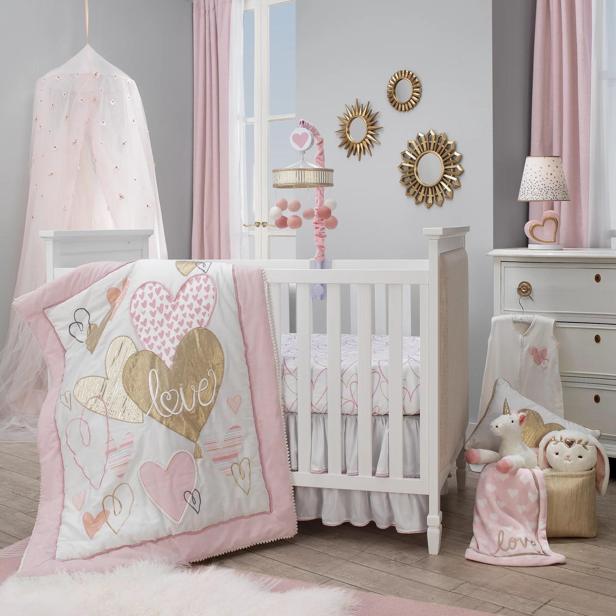 lambs ivy layla pink gold hearts love 4 piece nursery baby crib bedding set