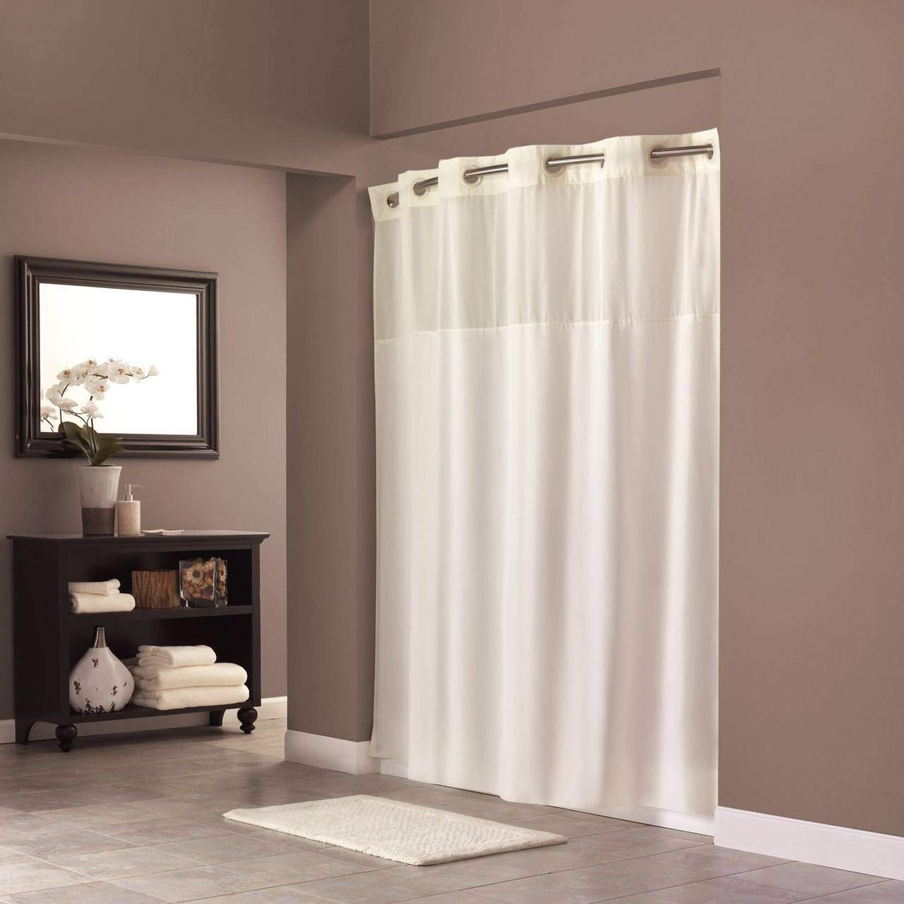 mini deer hookless shower curtain with magnet 70 8 x 74 inch polyester bath curtain with light filtering mesh