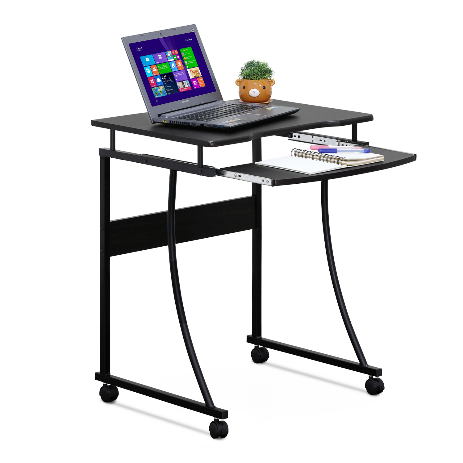 Furinno Besi Metal Frame Computer Desk with Keyboard Tray