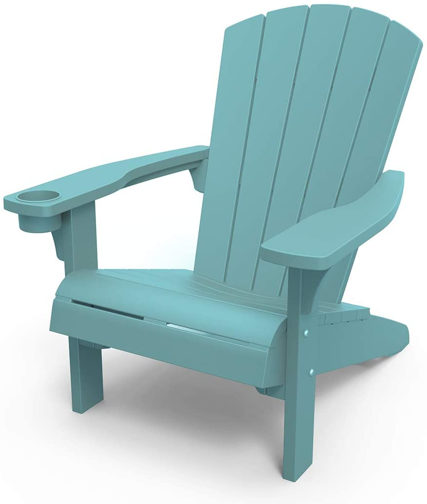 keter alpine adirondack resin outdoor furniture patio chairs with cup holder perfect for beach pool and fire pit seating teal