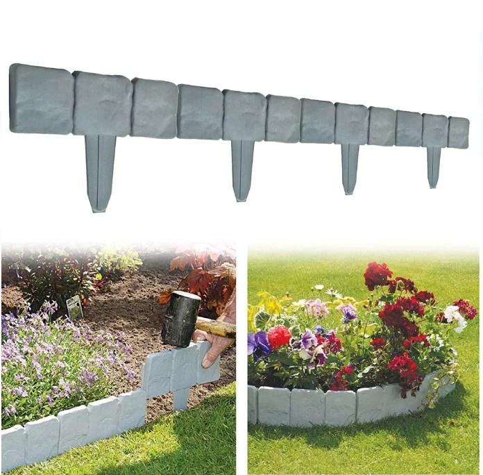 otviap 10pcs lawn border edging spring yard lawn garden plastic faux stone patio border edging fence