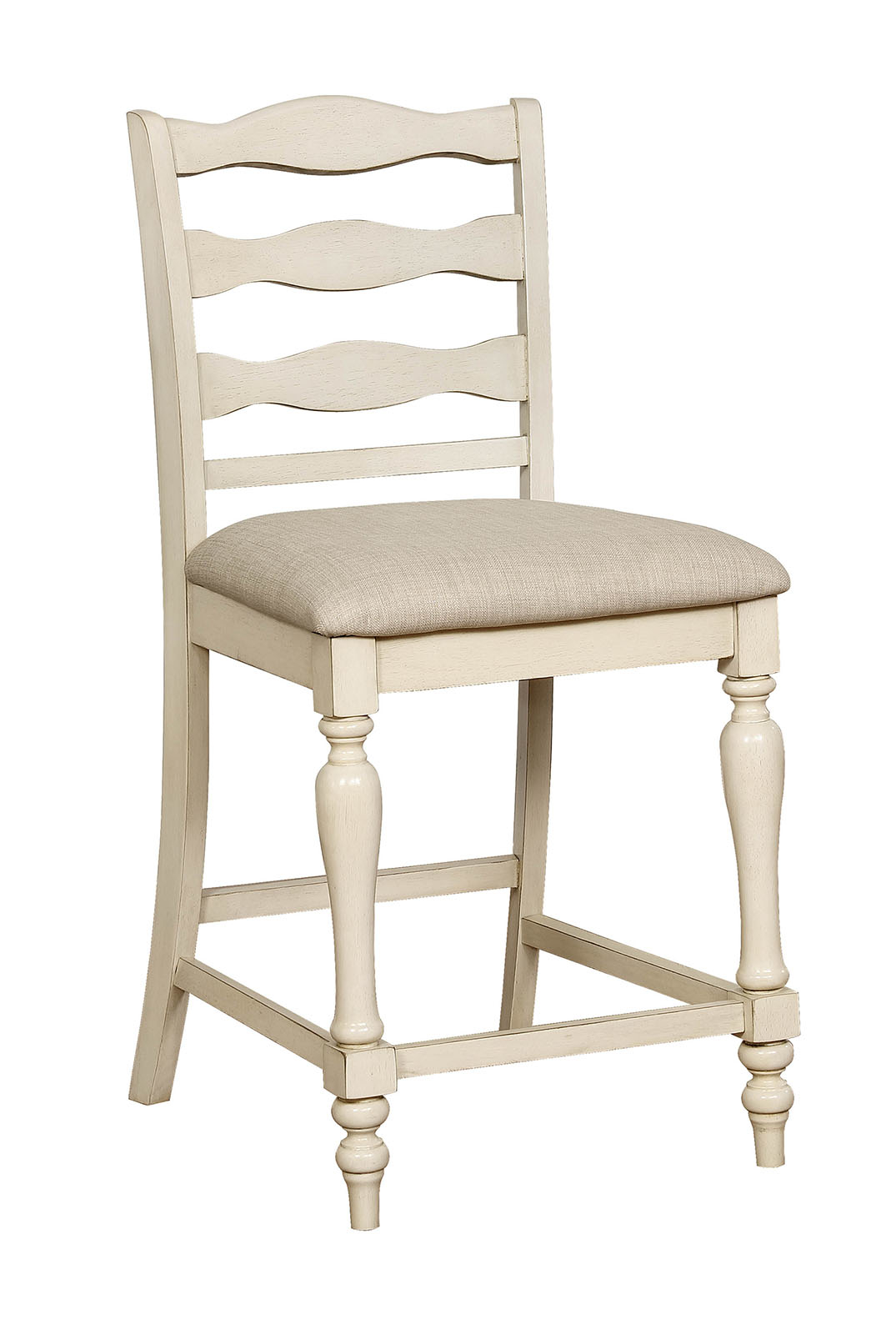 White Ladder Back Chair Fabric Upholstered Wooden Counter Height Chair With Ladder