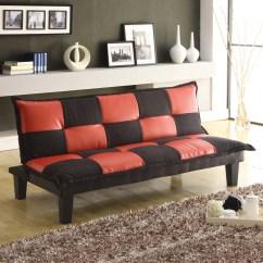 Black And White Checkered Sofa Bed Condo Size Sleeper Red Futon