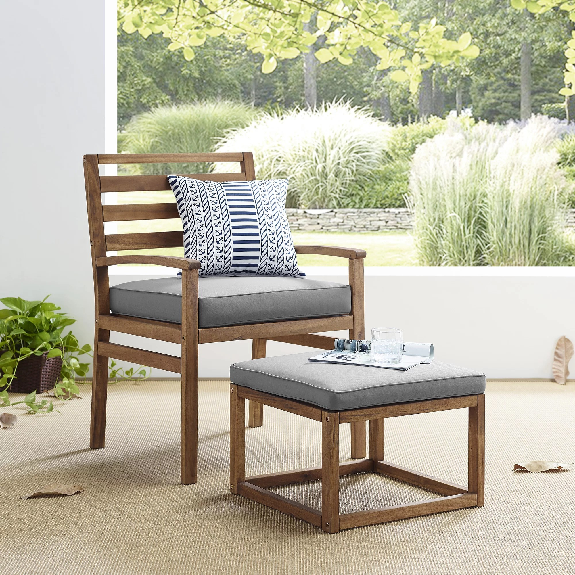 manor park acacia wood outdoor patio chair pull out ottoman brown grey