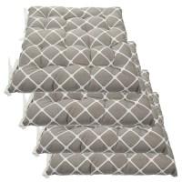 Set Of 4 Cotton Indoor Reversible Chair Pads & Ties ...