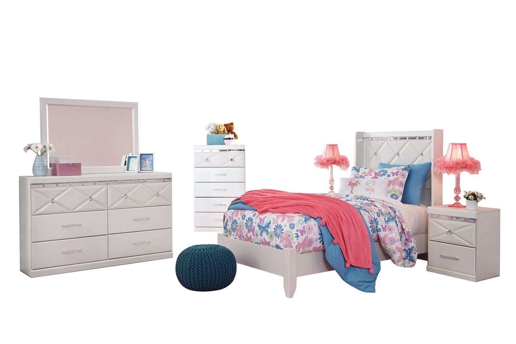 ashley furniture dreamur 6 pc bedroom set twin panel bed dresser mirror 2 nightstands chest champagne walmart com