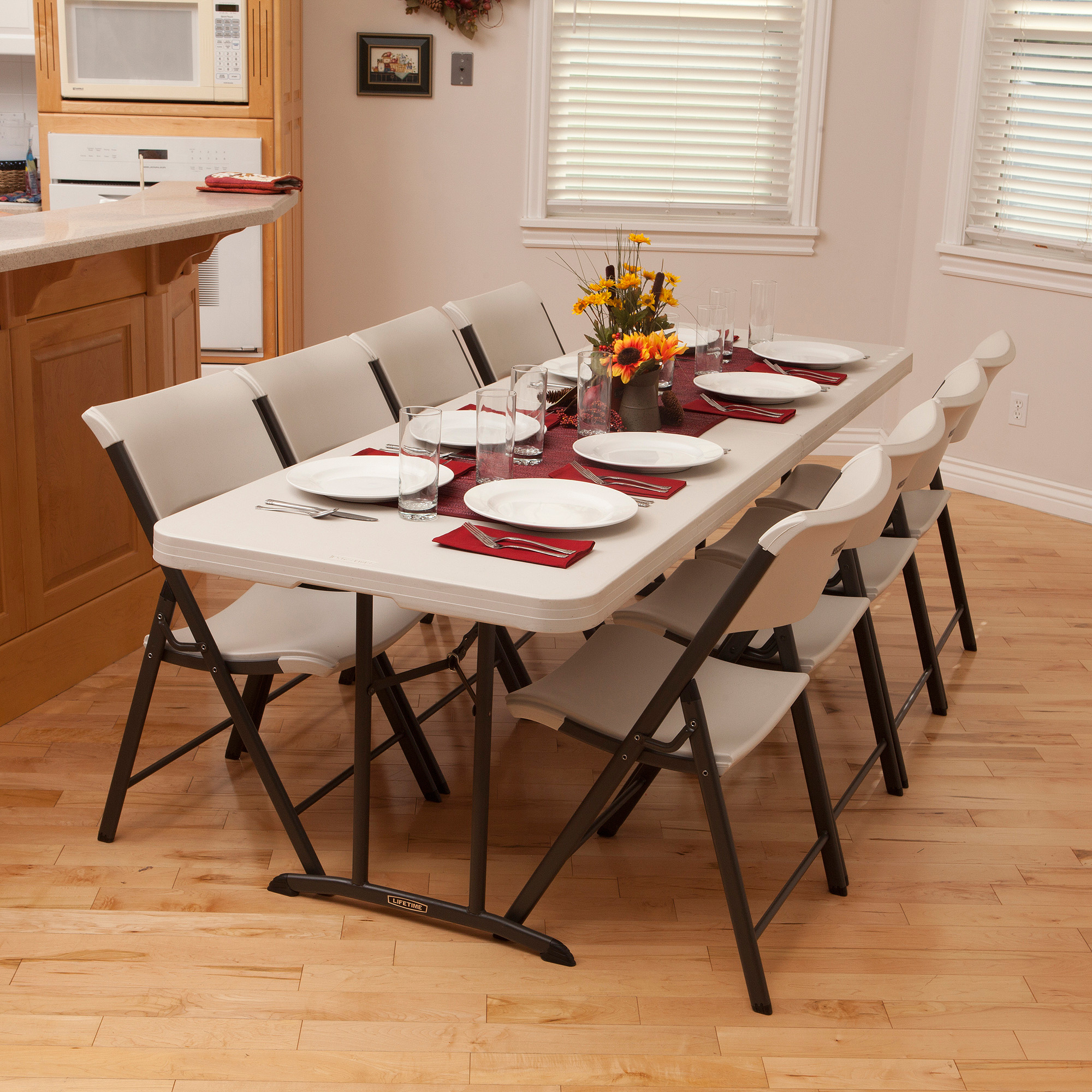 lifetime chairs and tables cute chair covers 8 fold in half table almond 80175 walmart com