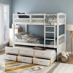 Harper Bright Designs Twin Over Twin Wood Bunk Bed With Trundle And Drawers White Walmart Com Walmart Com