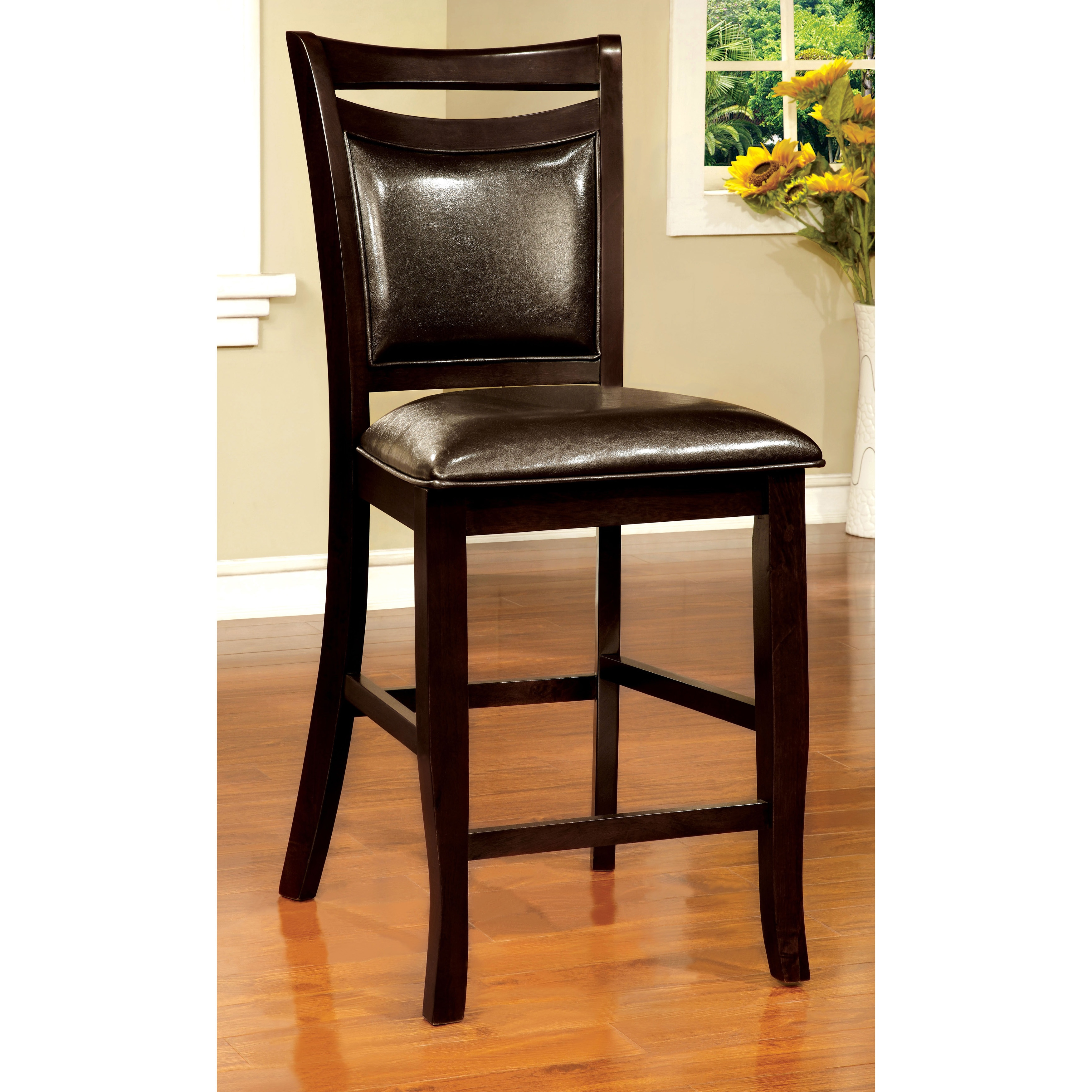 upholstered counter height chairs armless accent chair slipcover furniture of america clemmine contemporary espresso set 2