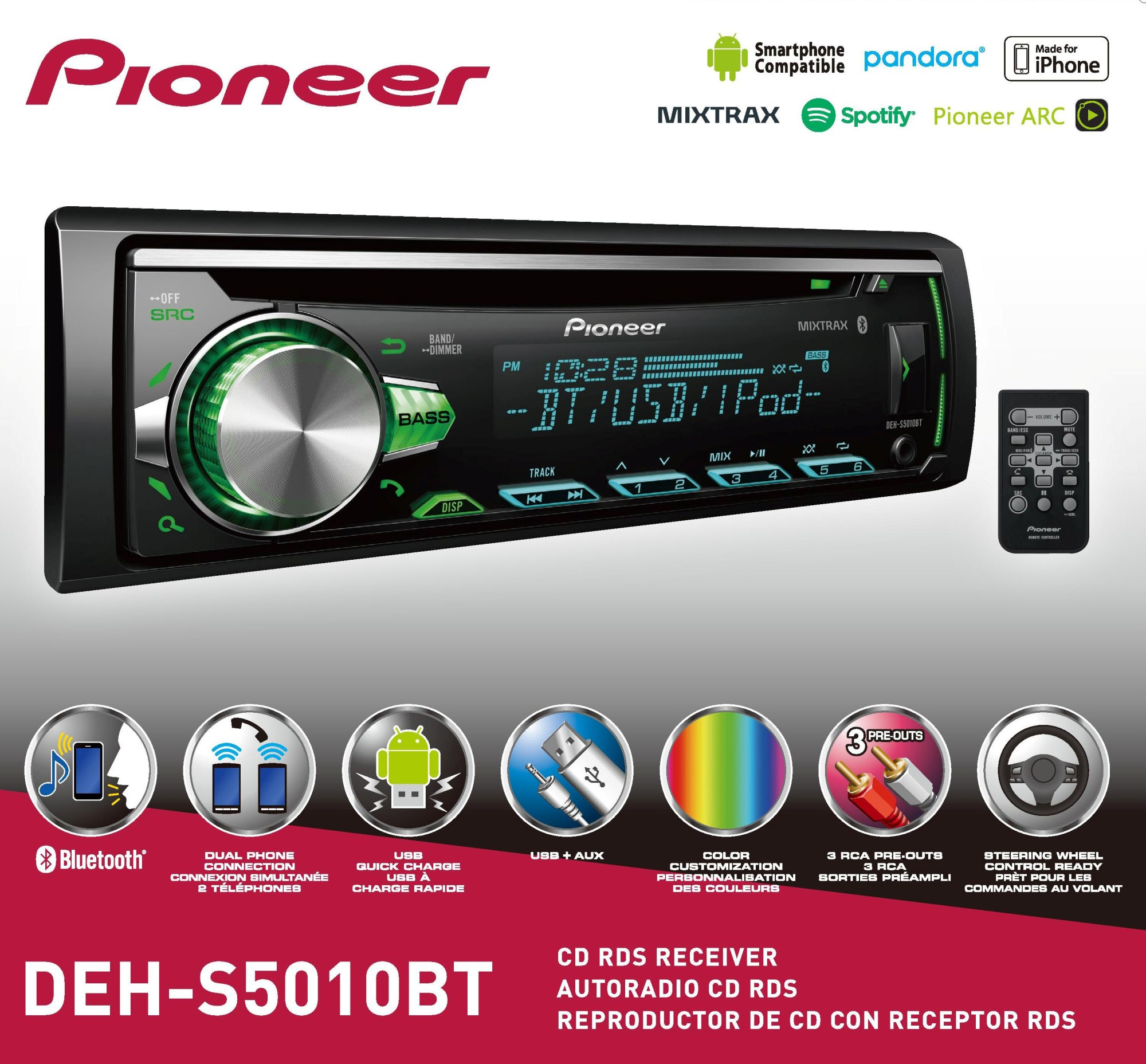 hight resolution of  pioneer deh s5010bt cd receiver with bluetooth single din in dash walmart com