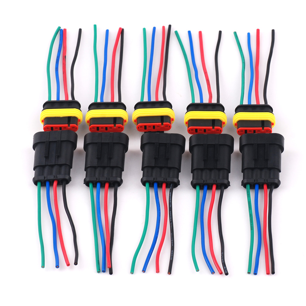 hight resolution of dc12v 4 pin 4 way waterproof car motor wiring harness connectors sockets plug female male connector of 5 pack