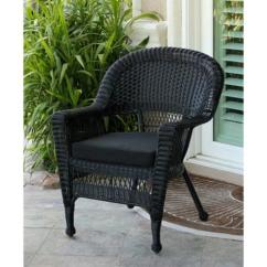 Woven Plastic Garden Chairs Eddie Bauer High Chair Light Wood 36 Black Resin Wicker Outdoor Patio With Cushion Walmart Com