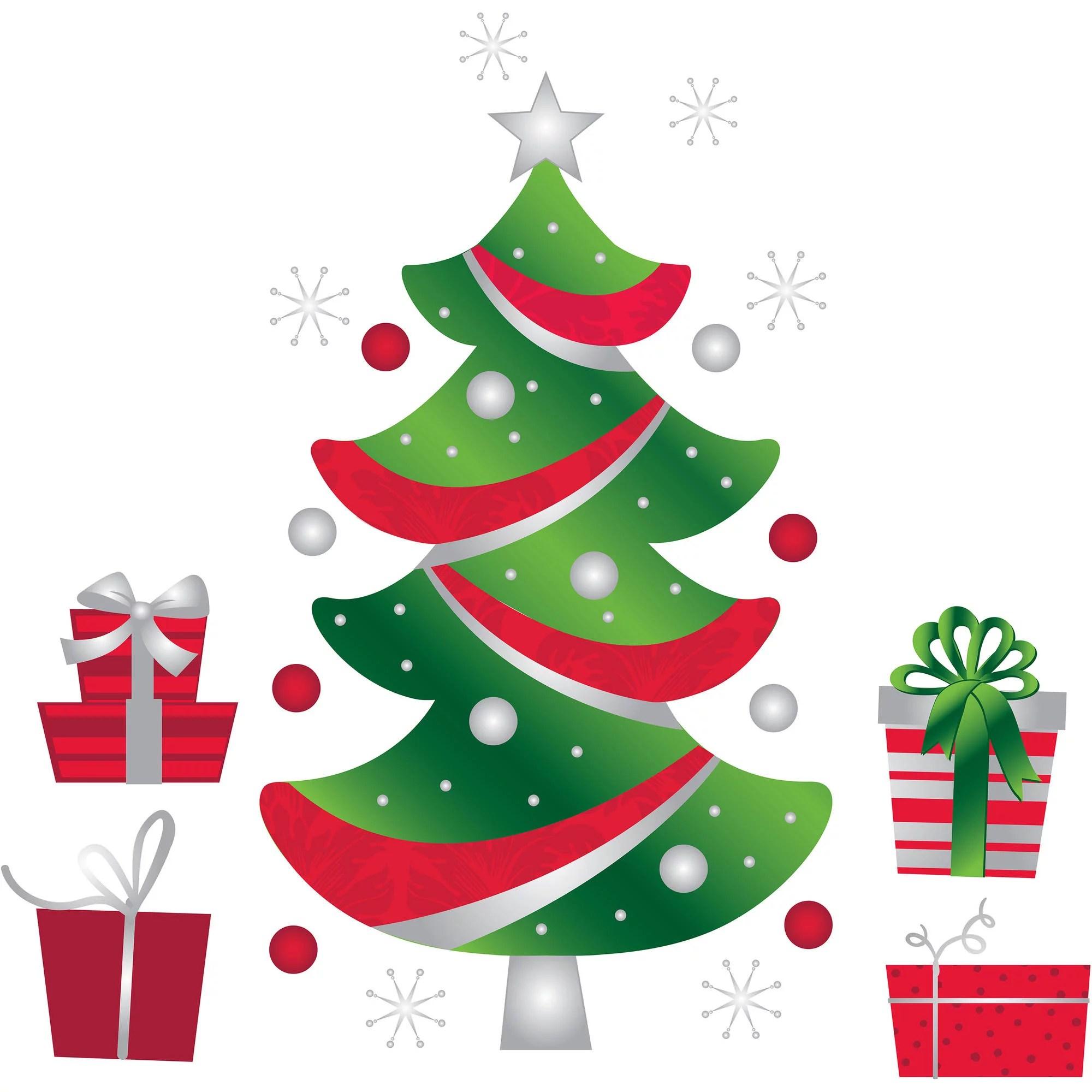 holiday time christmas decor glitter tree wall art walmart