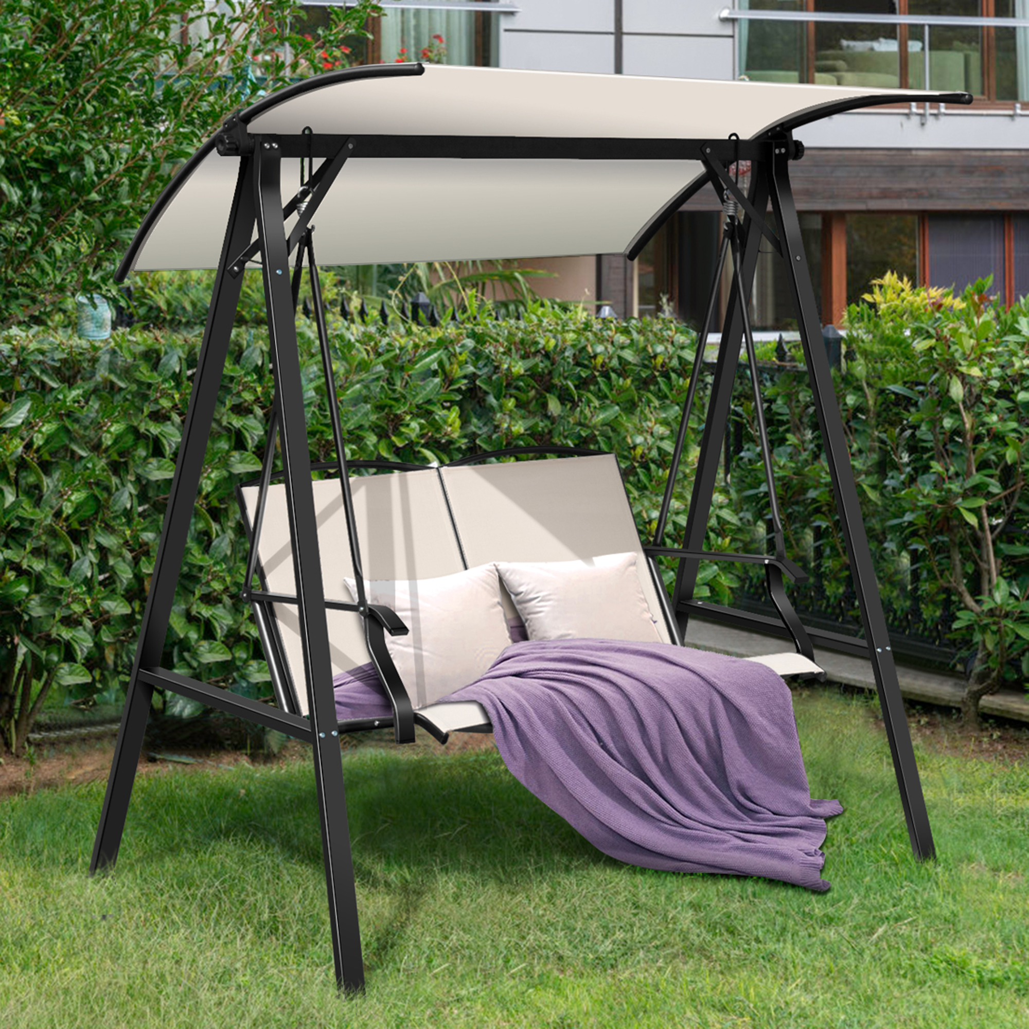 gymax patio canopy swing outdoor swing chair 2 person canopy hammock beige