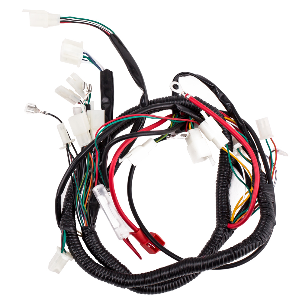 medium resolution of complete electrics wiring harness with wire loom magneto stator for gy6 125cc 150cc atv quad walmart com