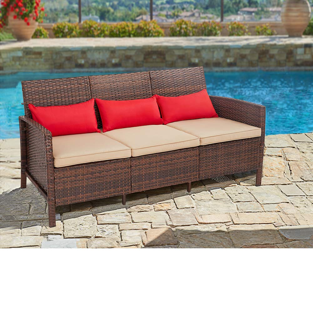 suncrown outdoor patio sofa couch seats 3 all weather wicker patio furniture with thick cushions garden backyard porch or pool