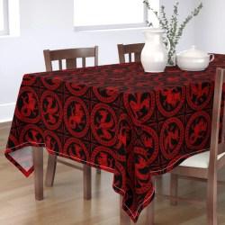 Tablecloth Dragon Red Black Richelieu Fantasy Medieval Banner Cotton Sateen Walmart com Walmart com