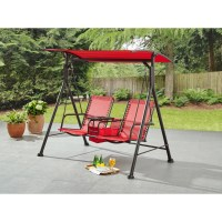 Mainstays Big and Tall 2-Person Bungee Canopy Porch Swing ...