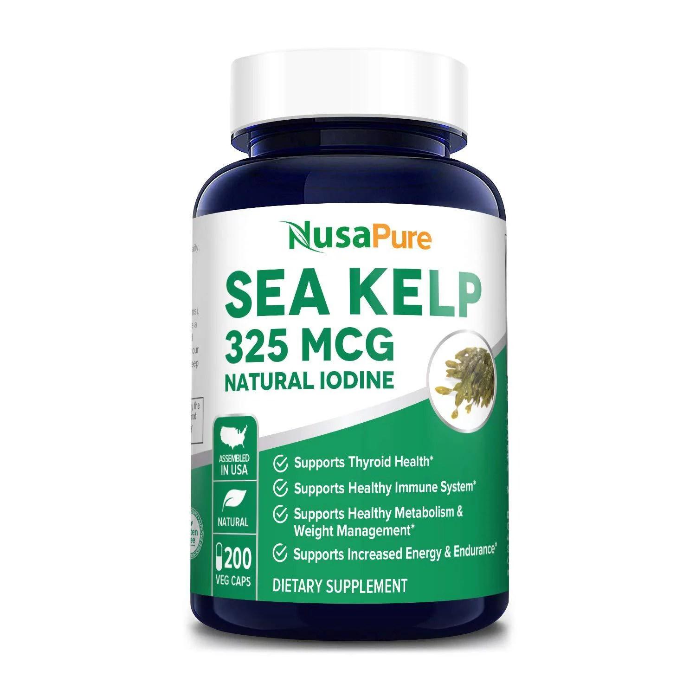 Sea Kelp 325mcg 200 Veggie Capsules (Non-GMO & Gluten Free ...