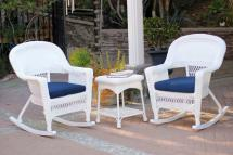 3-piece Ariel White Resin Wicker Patio Rocker Chairs And