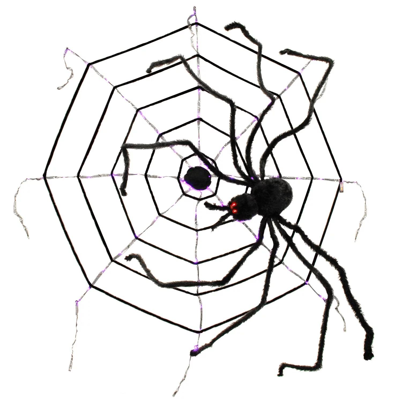 Halloween Haunters 6ft Creepy Black Spider Led Eyes Purple
