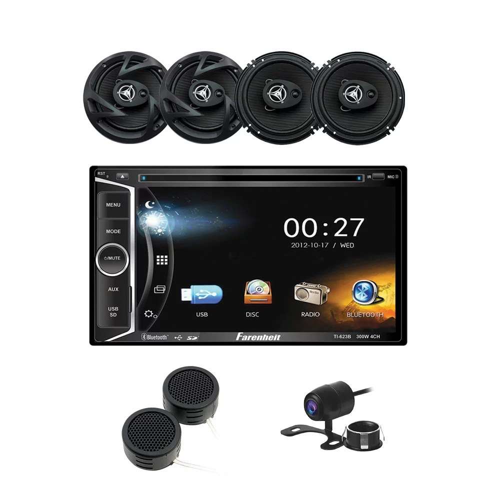 medium resolution of power acoustik 6 2 dvd cd multimedia car stereo 6 5 3 way coaxial speakers tweeters backup camera