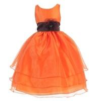 Girls Orange Brown Flower Junior Bridesmaid Dress 8-12 ...