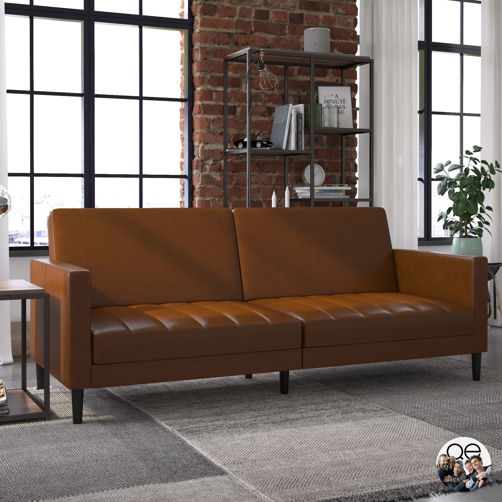 queer eye liam sofa bed camel faux leather