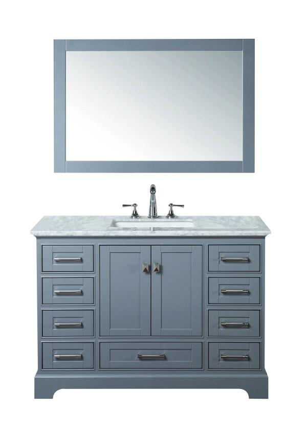 Stufurhome Newport Grey 48 Single Sink Bathroom