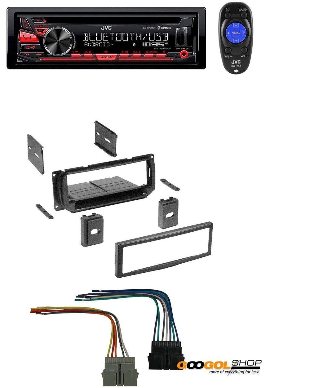 medium resolution of new car stereo radio kit dash installation mounting trim bezel w wiring harness and jvc kd r780bt 1 din cd receiver with bluetooth and jvc app remote