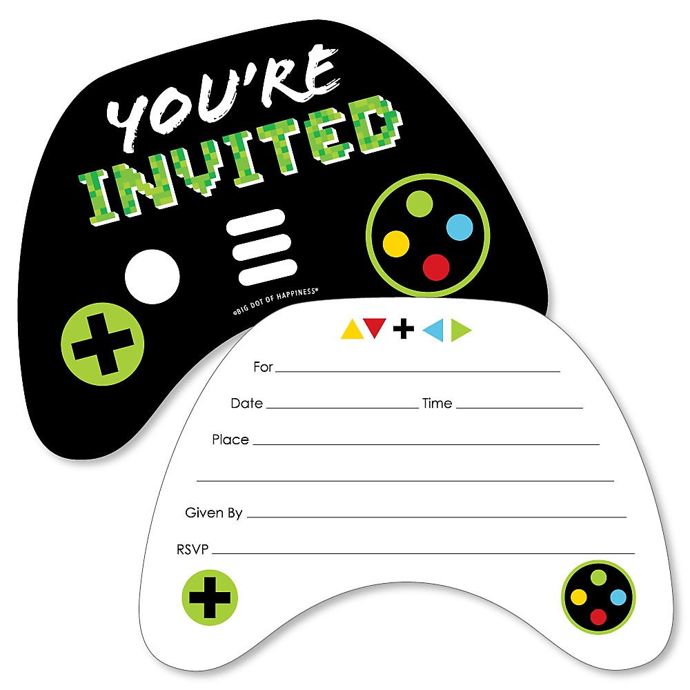 game zone shaped fill in invitations pixel video game party or birthday party invitation cards with envelopes set of 12 walmart com