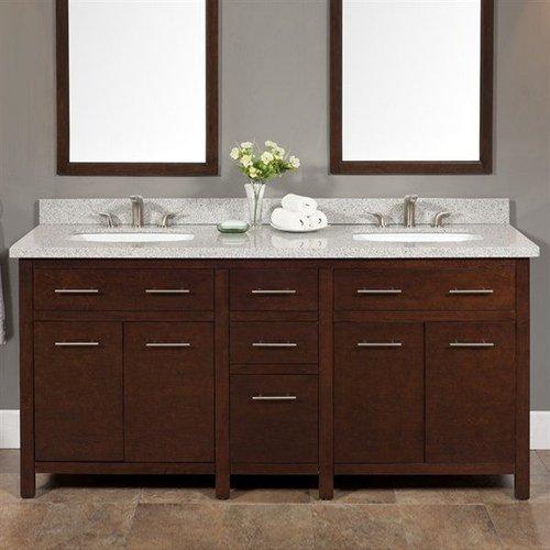 72in Double Sink Wood Bathroom Vanity with Backsplash