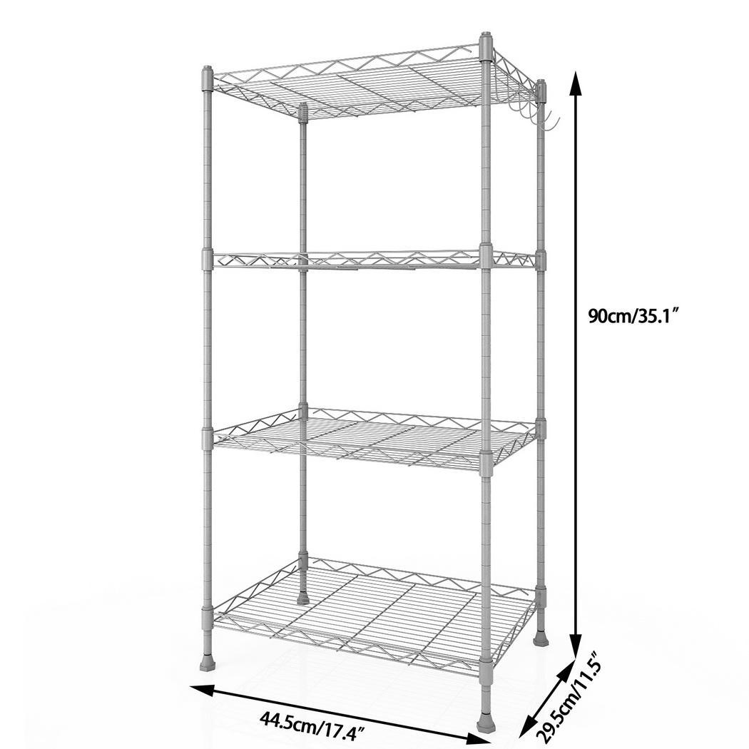 kitchen wire rack trends in flooring procyberstore adjustable height 4 shelf shelving storage organizer with side hooks