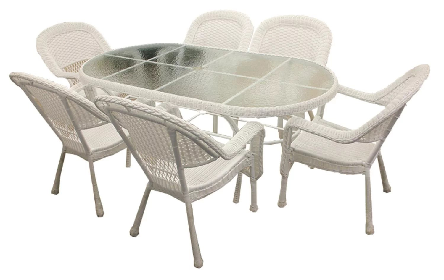 7 piece white resin wicker patio dining set 6 chairs and 1 dining table walmart com