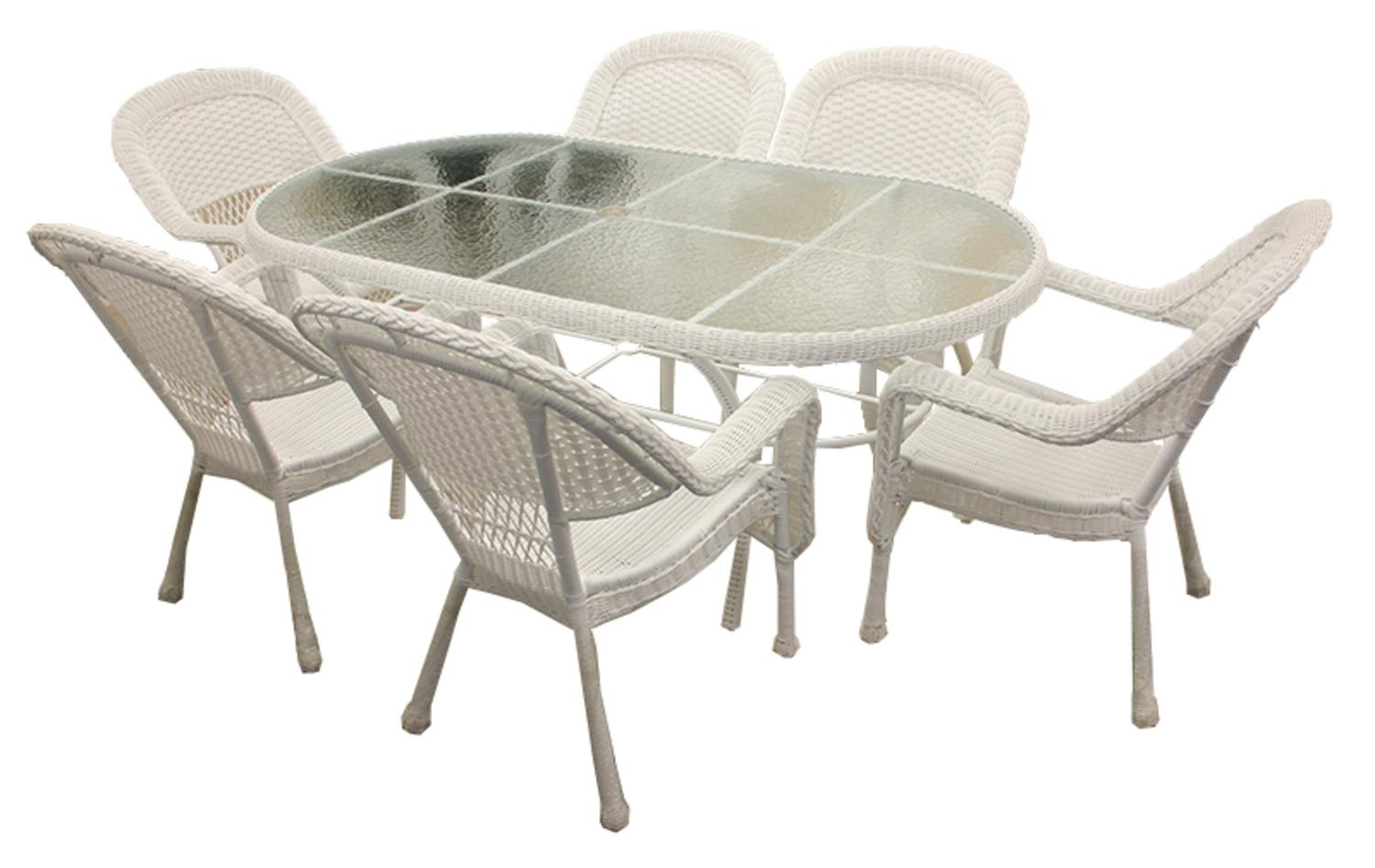 dining table set 6 chairs hanging chair for bedroom diy 7 piece white resin wicker patio and 1 walmart com