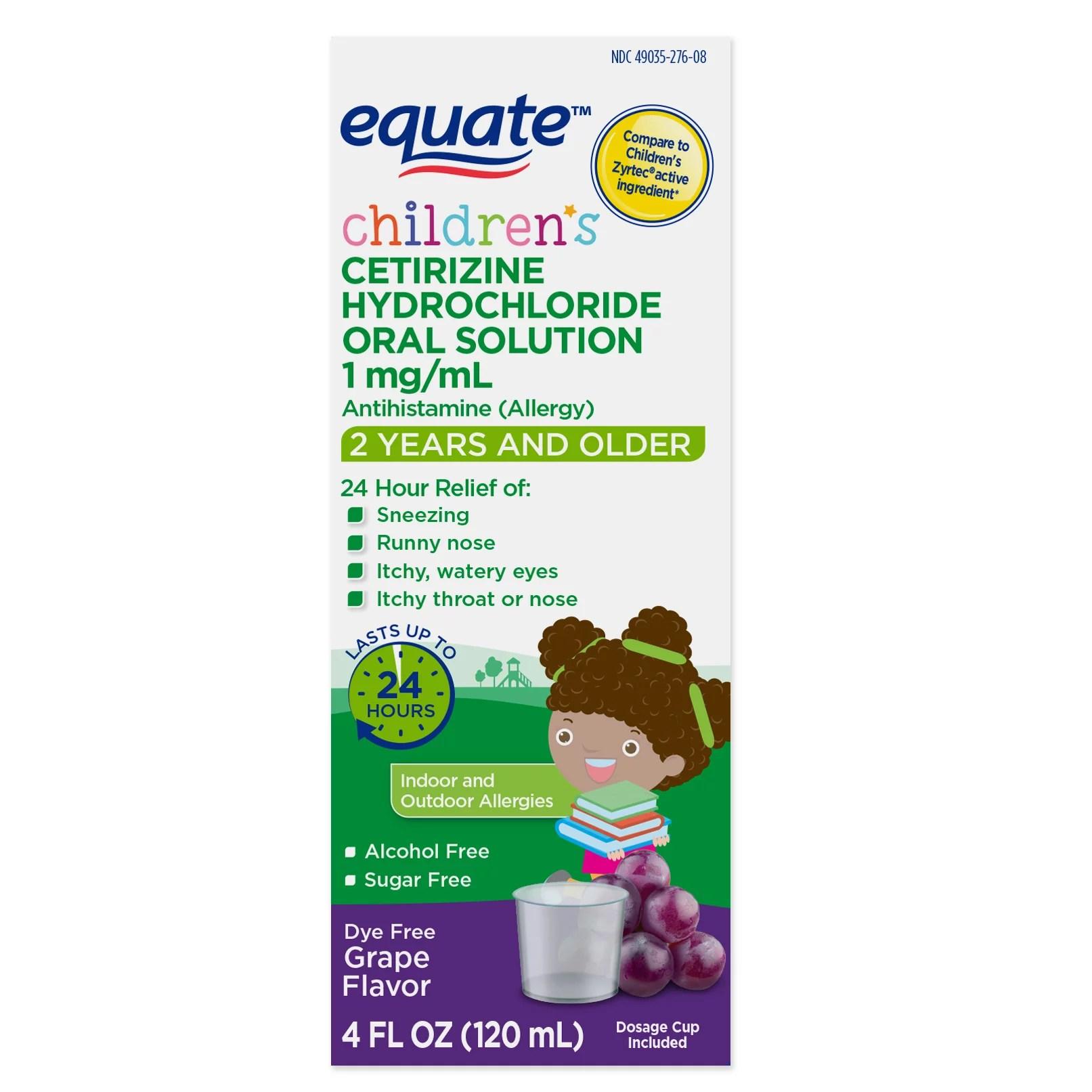 Equate Children's Allergy Cetirizine Suspension Grape 4 ...
