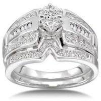 1/2 Carat Diamond 14kt White Gold Round Cluster Bridal Set ...
