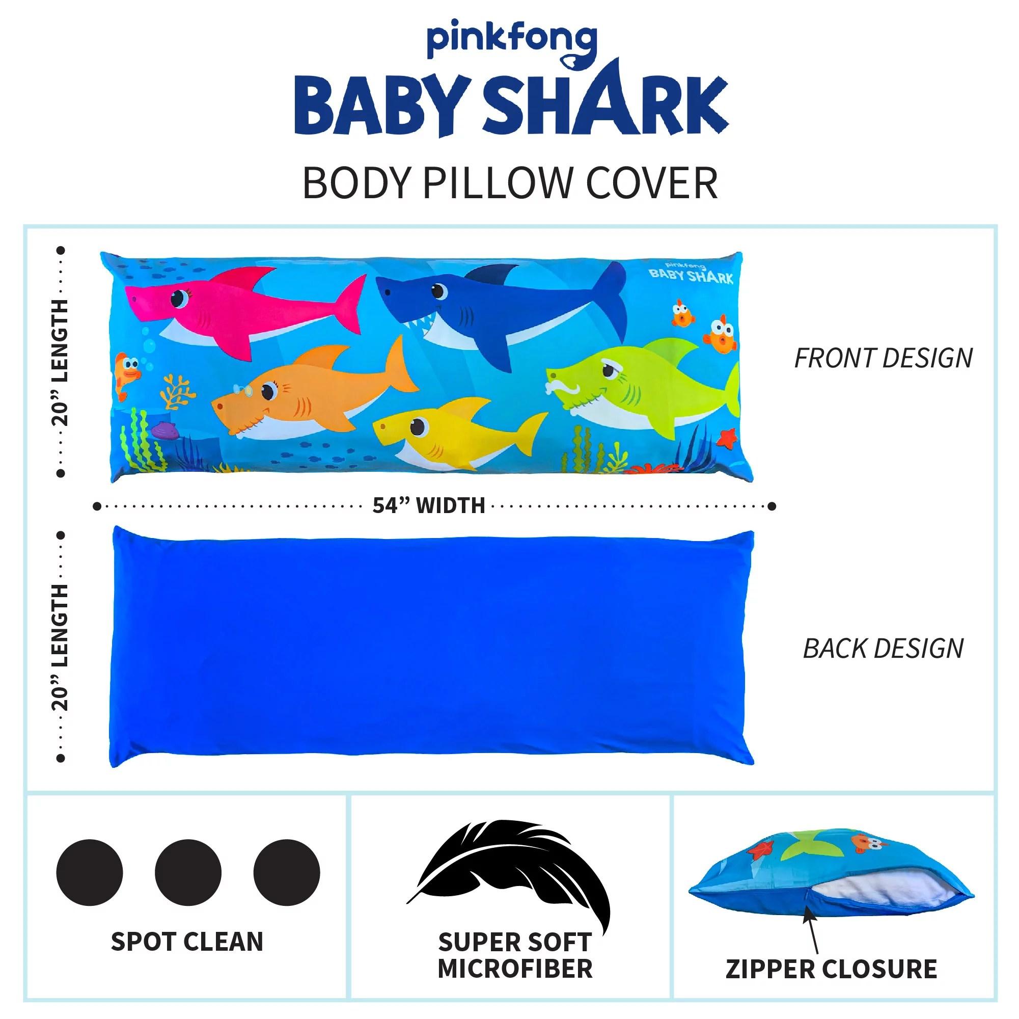 baby shark kids body pillow cover zip closure