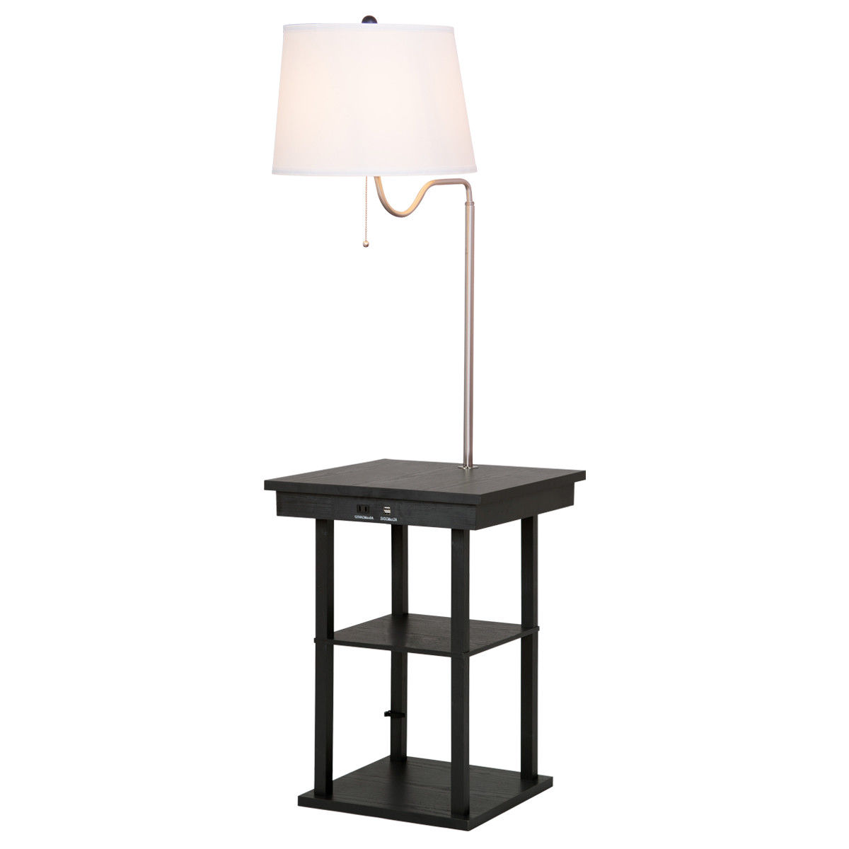 Gymax Floor Lamp Swing Arm Lamp Built In End Table w